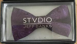 Jeff Banks 100% Silk Bow Tie Paisley Pattern Wedding Event Wear