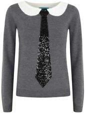 Alice + Olivia Delray Tie Sweater Embellished Gray Wool top Size S NWOT