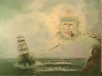 Mid Century Nautical Painting Surreal Signed H. Hotman