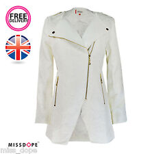 NEW OFF WHITE WOMENS TEXTURED MAC TRENCH COAT ZIP JACKET GOLD OUTWEAR LADIES UK