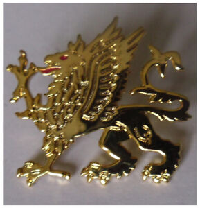 Gold coloured Griffin pin badge Badge