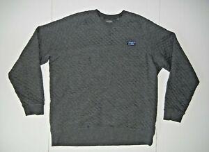 LL BEAN Gray Cotton Warm QUILTED CREW NECK SWEATSHIRT Hiking Gym Men's XL-T TALL