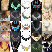 Womens Charm Jewelry Bohemian Pendant Chain Chunky Collar Statement Bib Necklace