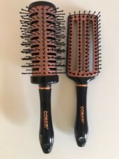 Set Of 2 Conair Quick Blow Dry Pro Round and Flat Hair Brushes Copper Collection