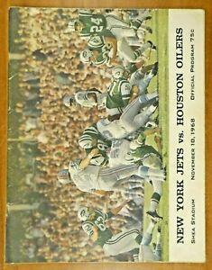1968 NY Jets vs Houston Oilers Official Football Program