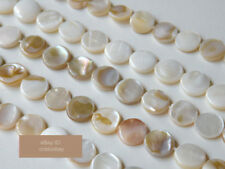 Mother of Pearl beads White Shell Coins shape strand
