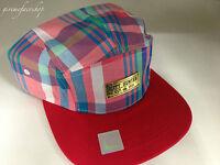 5 panel red check snapback caps, strap back flat peak baseball hats, retro,