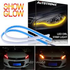 2pcs LED Car Flexible DRL Daytime Running Strip Light Super Slim Lamp Red Amber