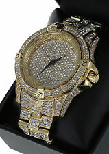Men Hip Hop Fully Iced Out Gold Plated Rapper;s Lab Diamond Watch Techno Trend