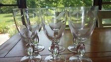 Etched Water Goblets glasses Leaf Design on Clear glass Grey Cut 6 12oz glasses