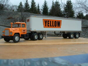 """HUGE 17"""" LONG YELLOW FREIGHT TANDEM TANDEM R MACK TRACTOR TRAILER FIRST GEAR"""