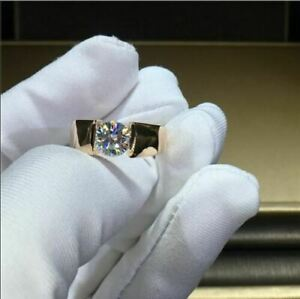 2Ct Round Cut Moissanite Solitaire Men'S Engagement Ring 14K Yellow Gold Finish