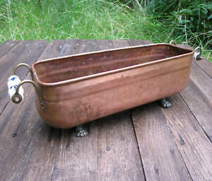 Old Copper and Brass Planter with Lion Feet and Ceramic Handles Plant Pot Trough