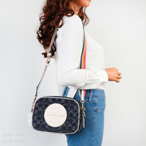 NWT Coach C2822 Dempsey Camera Bag in Signature Jacquard with Stripe and Patch