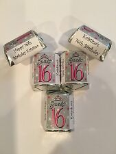 30 Sweet 16 Birthday Candy Bar Wrappers Favors Pink