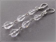 Boucles d'oreilles longues cristal Swarovski et argent 925/1000e BO14