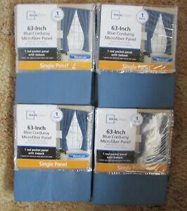 Lot of 4 Mainstay 63-inch Blue Corduroy Microfiber Panel w/ Tieback Single Panel