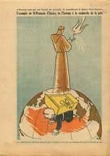 Saint François d'Assise Colombe de la Paix Pigeon Globe Terre 1954 ILLUSTRATION
