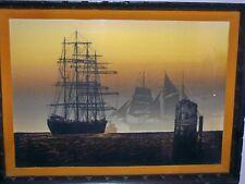 """Elton Bennett """"Down ToThe Sea"""" Serigraph 18""""x24"""" Framed"""
