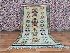 Vintage Moroccan Azilal Handmade Rug 3ft 6x6ft 3 Berber Symbols Wool BOHO Carpet