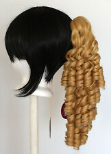18'' Ringlet Curly Pony Tail Clip Butterscotch Blond Cosplay Lolita Wig Clip NEW