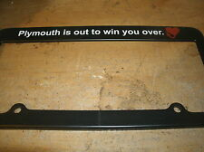 1960's PLYMOUTH IS OUT TO WIN YOU OVER HEART LOGO LICENSE PLATE FRAMES PAIR 2x