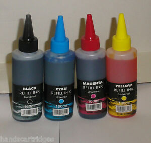 4 Non Oem IJ Brand Bottles Ink Fits MFC-490CW MFC-6490CW CISS / Refill Carts