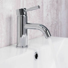 Modern Chrome Curved Basin Mixer Single Lever Tap Bathroom Sink Faucet and Waste