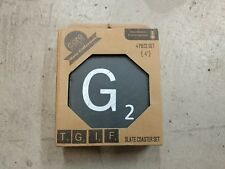 "New 4 Piece Slate Coaster Set - 4"" TGIF Scrabble Tile - Stone Coasters"