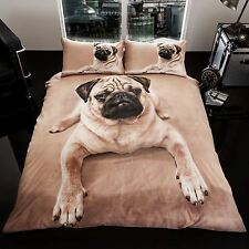 CARLIN CHIOT CHIEN GRANDE TAILLE Set Housse de couette NEUF King Size Literie