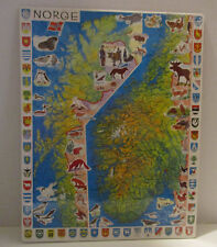 Jigsaw Puzzle Norge Norway Larsen Frametray Map 61 pieces New Sealed Animals