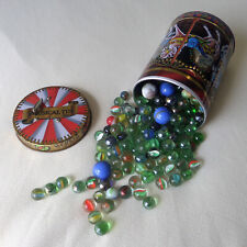 200+ Glass Marbles in Musical Merry Go Round Biscuit Tin