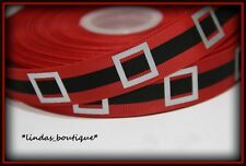 "1YD 7/8"" CHRISTMAS SANTA CLAUS BELT & BUCKLE CRAFT HAIRBOW GROSGRAIN RIBBON RED"