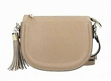 Kaleidoscope Taupe Real Italian Leather Crossbody Messenger Bag