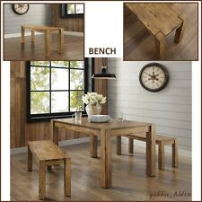 New Rustic Solid Wood Dining Table Bench Block Leg Farm House Style Vintage