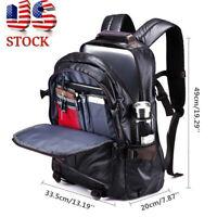 US Men Leather Business Backpack Waterproof Laptop Shoulder Bag Travel  Handbag
