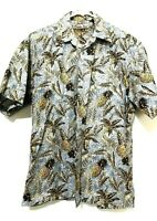 Hollis River Mens Short Sleeve Hawaiian Pineapple Dress Shirt Blue Size Medium