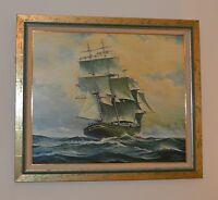 Large Naval Painting Three Masted Ship on High Seas Signed and Framed