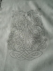 Printed to hand  Embroider Table Runner Celtic tree of life cotton CSOO17
