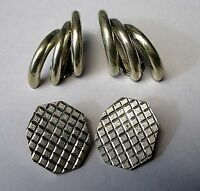 2 Vintage Sterling Silver 925 Clip Earrings 28.15 g Mexico TC-19 & TS-7 (599-J)