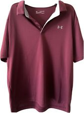 Under Armour Mens 2Xl Loose Heat Gear Shirt Burgundy With Grey Trimmed Collar