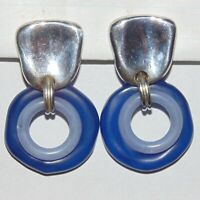 Vintage signed Catherine C Stein silver tone blue drop circle clip earrings