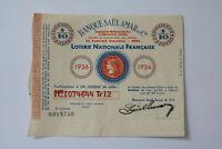 FRANCE LOTERY TICKET 1936 B20 BK154