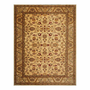 """9'2"""" x 11'9"""" Hand Knotted Wool Stone Wash Peshawar Vegetable Dye Area Rug Gold"""