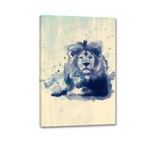 Leone 90x60cm Quadro Su Tel Dipinto A Parete Animali Zoo Blu Arte Acquarelli