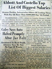 1947 newspaper IRS LIST ofNAMES Top US earners in 1946 ABBOTT & COSTELLO highest