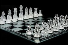 Glass Chess Set Classic Vintage Draughts Pieces Tournament Table Gift Board Game