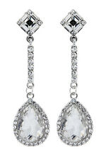 CLIP ON DROP EARRINGS - silver plated chandelier earring with crystals - Erin
