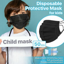 [KIDS] 50 PC Disposable Face Mask 3-Ply Non-Medical Earloop Mouth Cover - Black