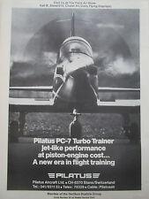 4/1977 PUB PILATUS PC-7 TURBO TRAINER AIRCRAFT AVION PARIS AIRSHOW ORIGINAL AD